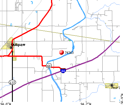 Quapaw, OK (74363) map