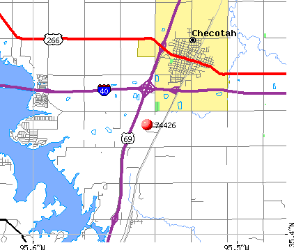 Texanna, OK (74426) map