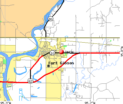 Fort Gibson, OK (74434) map
