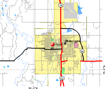 Okmulgee, OK (74447) map