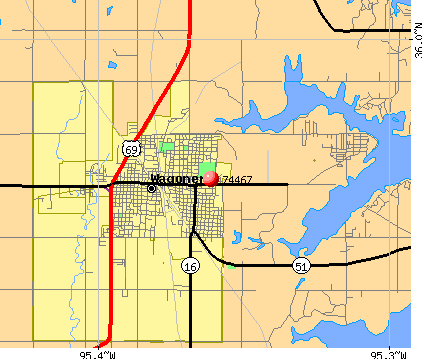 Wagoner, OK (74467) map