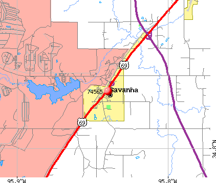 Savanna, OK (74565) map