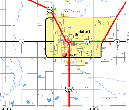 Idabel, OK (74745) map