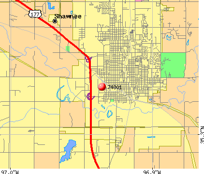 Shawnee, OK (74801) map