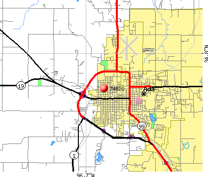 Ada, OK (74820) map
