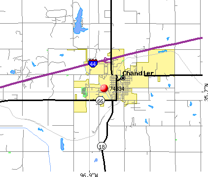Chandler, OK (74834) map
