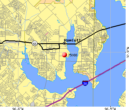 Rowlett, TX (75088) map
