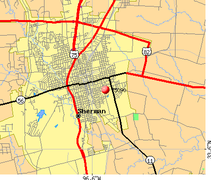Sherman, TX (75090) map