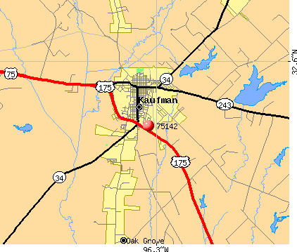 Kaufman, TX (75142) map