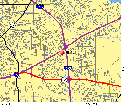 Mesquite, TX (75150) map
