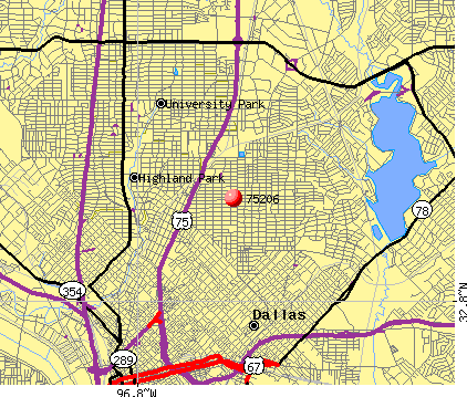 Dallas, TX (75206) map
