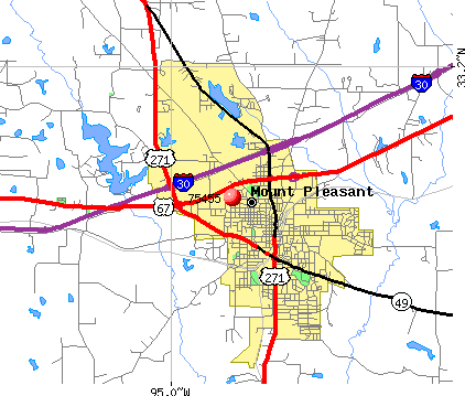 Mount Pleasant, TX (75455) map