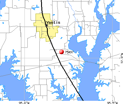 Yantis, TX (75497) map