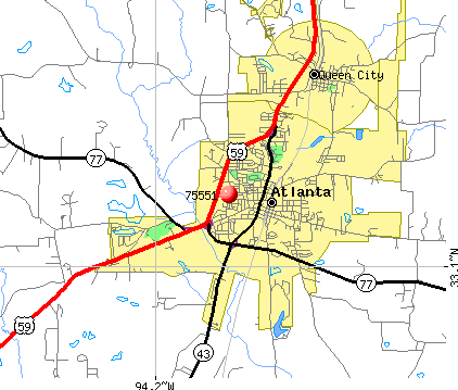 Atlanta, TX (75551) map