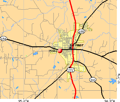 Gilmer, TX (75644) map
