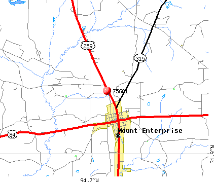 Mount Enterprise, TX (75681) map
