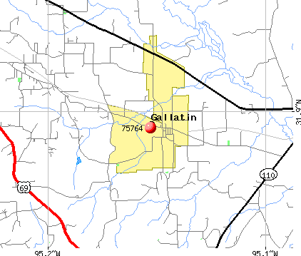 Gallatin, TX (75764) map