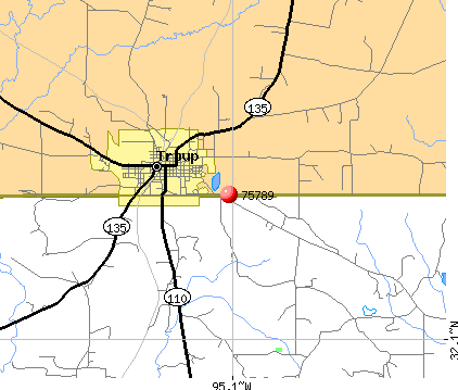Troup, TX (75789) map