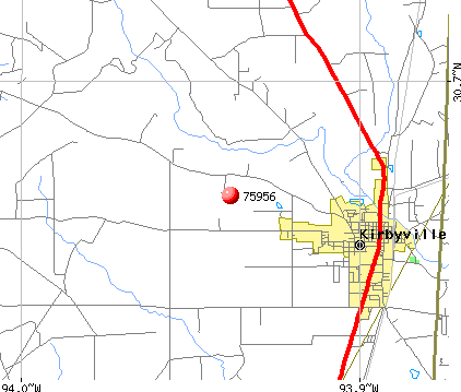 Kirbyville, TX (75956) map