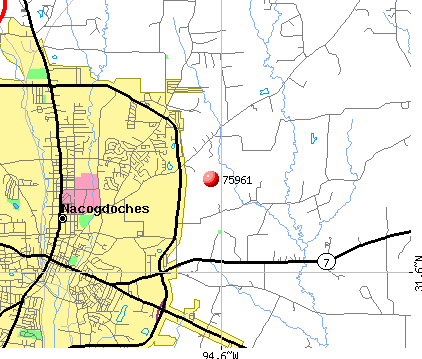 Nacogdoches, TX (75961) map