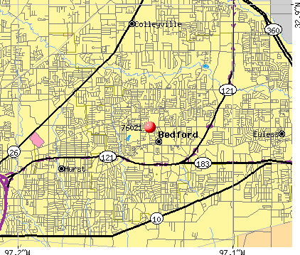 Bedford, TX (76021) map