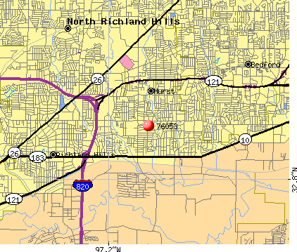 Hurst, TX (76053) map