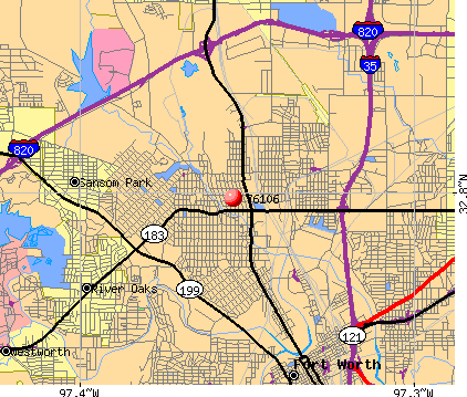 Fort Worth, TX (76106) map