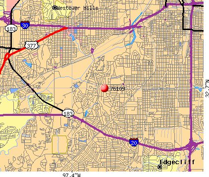 Fort Worth, TX (76109) map