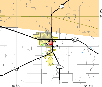 Olney, TX (76374) map