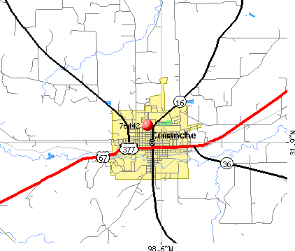 Comanche, TX (76442) map
