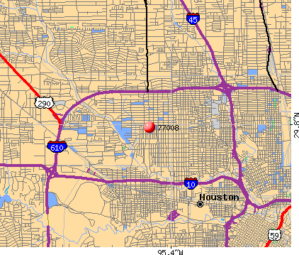 Houston, TX (77008) map