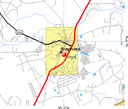 Shepherd, TX (77371) map