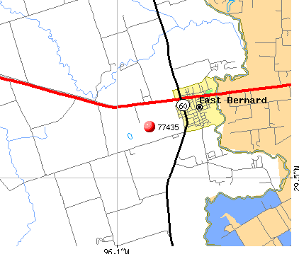 East Bernard, TX (77435) map
