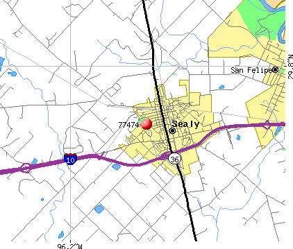 Sealy, TX (77474) map