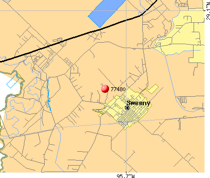 Sweeny, TX (77480) map
