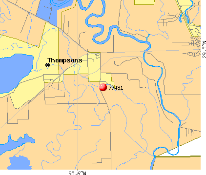 Thompsons, TX (77481) map