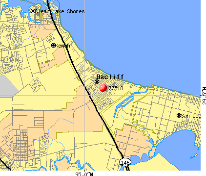 Bacliff, TX (77518) map