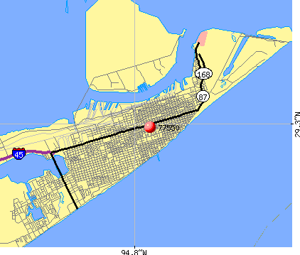 Galveston, TX (77550) map