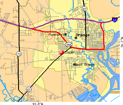 Orange, TX (77630) map