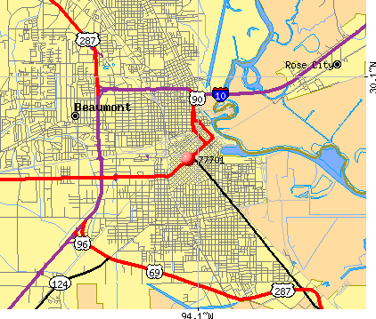 Beaumont, TX (77701) map