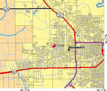 Beaumont, TX (77706) map