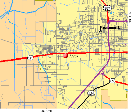 Beaumont, TX (77707) map