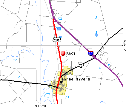 Three Rivers, TX (78071) map