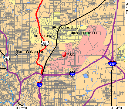San Antonio, TX (78234) map