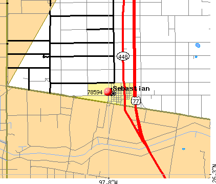 Sebastian, TX (78594) map