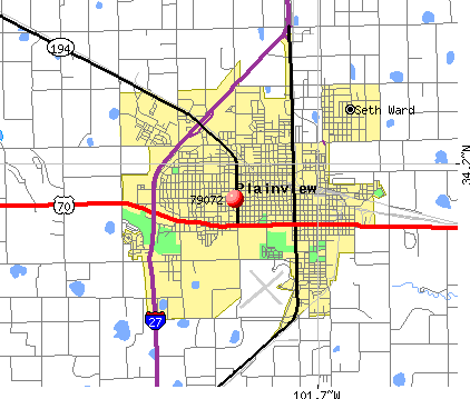 Plainview, TX (79072) map