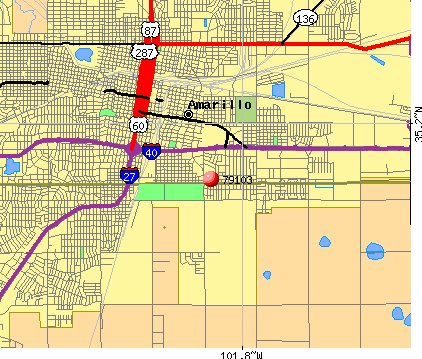 Amarillo, TX (79103) map