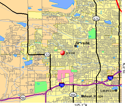 Arvada, CO (80004) map