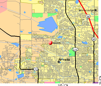 Arvada, CO (80005) map