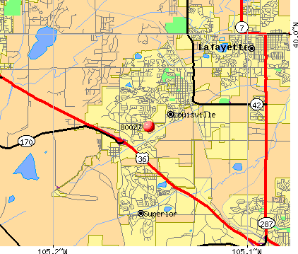 Louisville, CO (80027) map